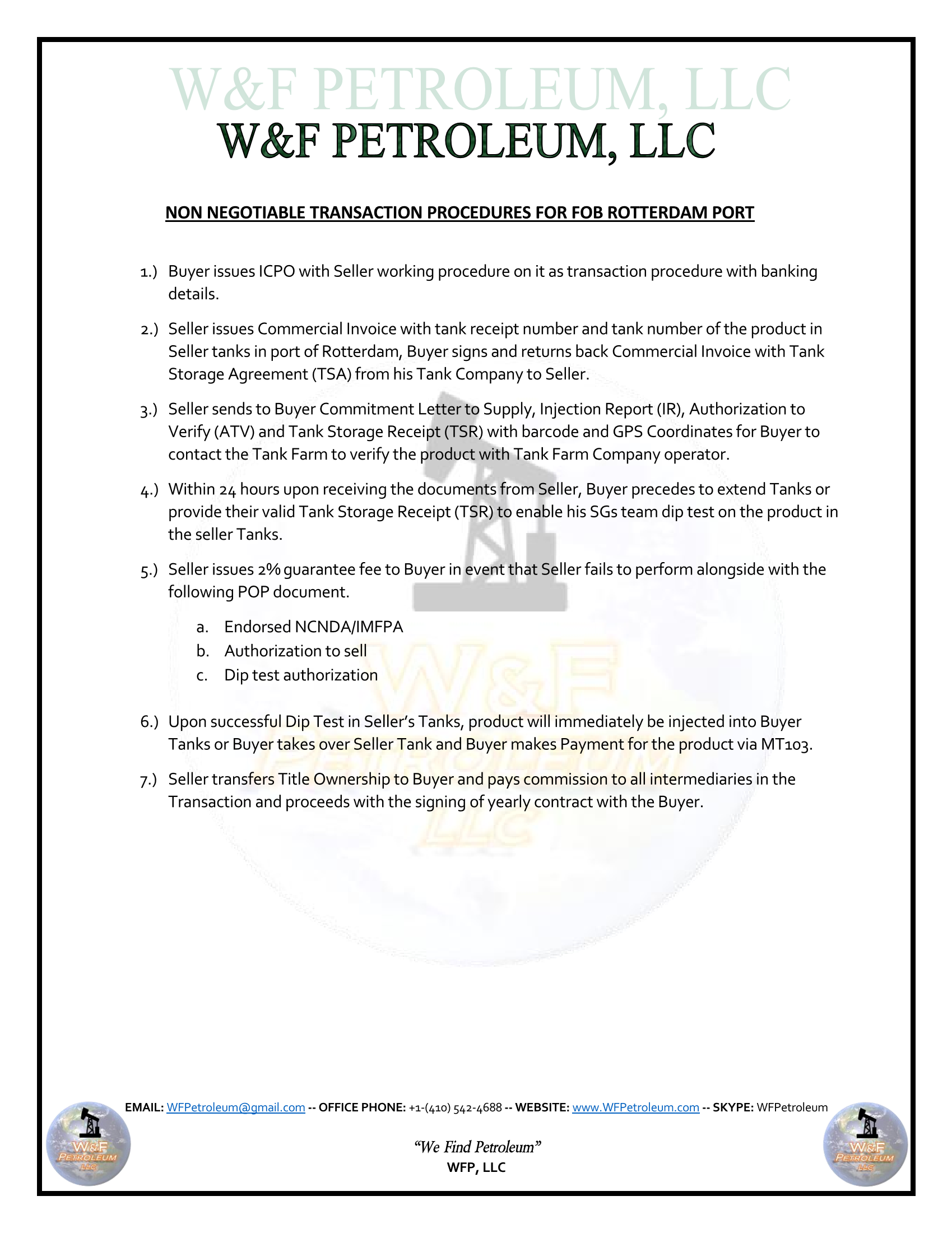Aviation Jet Fuel (JP54) and FOB – W&F Petroleum LLC